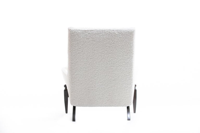 Adrian Pearsall Style Mid-Century Modern Chairs and Ottoman in Ivory Shearling For Sale 12