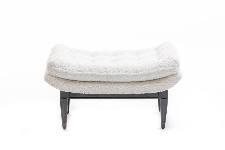 Adrian Pearsall Style Mid-Century Modern Chairs and Ottoman in Ivory Shearling For Sale 13
