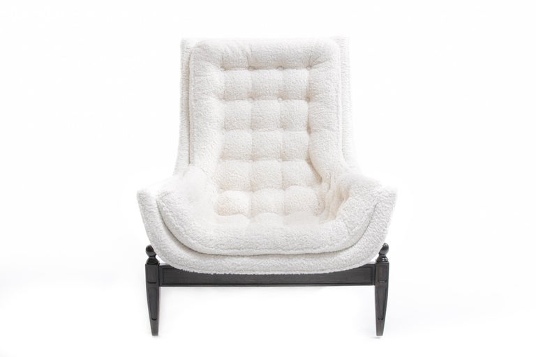 Adrian Pearsall Style Mid-Century Modern Chairs and Ottoman in Ivory Shearling In Good Condition For Sale In Saint Louis, MO