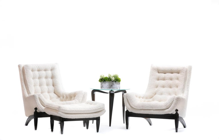 Adrian Pearsall Style Mid-Century Modern Chairs and Ottoman in Ivory Shearling For Sale 2