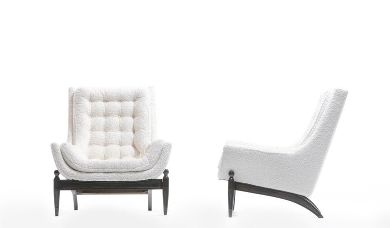 Adrian Pearsall Style Mid-Century Modern Chairs and Ottoman in Ivory Shearling For Sale 3