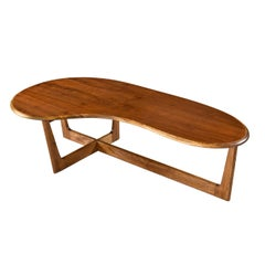 Adrian Pearsall Style Solid Oak and Walnut Boomerang Amoeba Shape Coffee Table