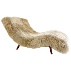 Adrian Pearsall Style Wave Chaise Lounge in New Zealand Sheepskin