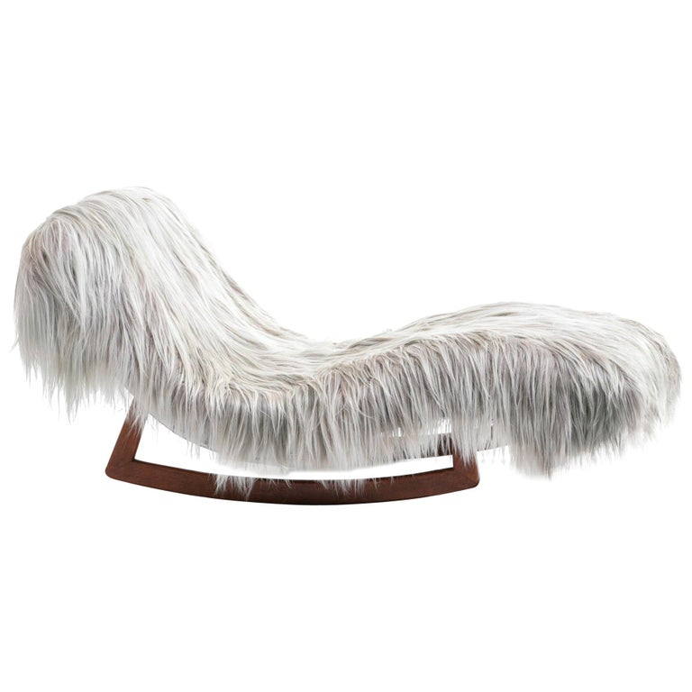 Adrian Pearsall Style Wave Rocking Chaise in Silver Long Hair Goat Fur For Sale