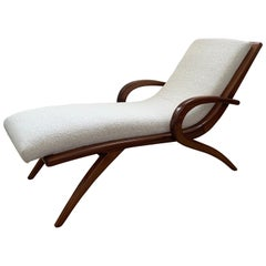 Adrian Pearsall Walnut and Boucle Wave Chaise Lounge, USA, 1960s