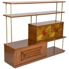 Adrian Pearsall Walnut and Brass Brutalist Mid-Century Modern Etagere Bookcase