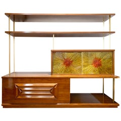 Adrian Pearsall Walnut and Brass Brutalist Mid-Century Modern Étagère Bookcase