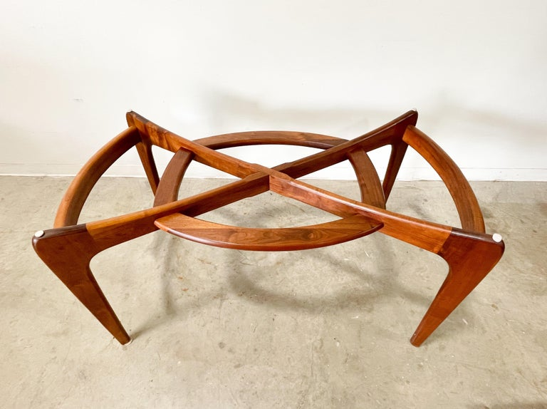 Mid-Century Modern Adrian Pearsall Walnut and Glass Dining Table