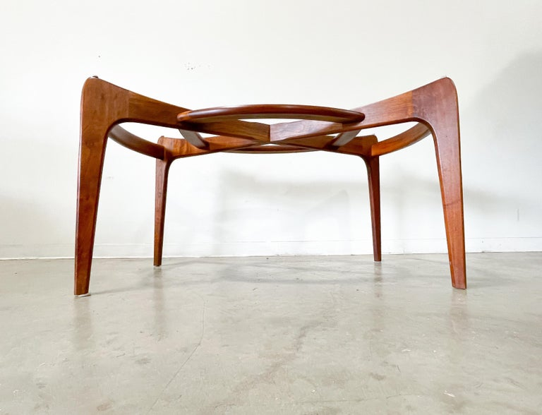 American Adrian Pearsall Walnut and Glass Dining Table