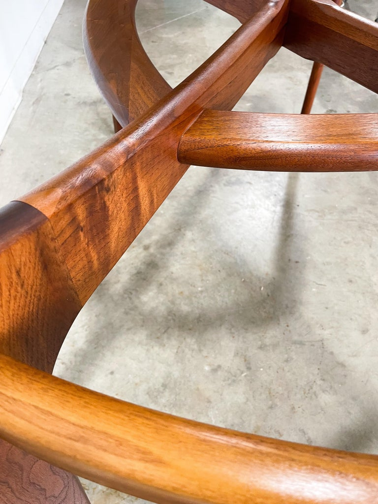 Adrian Pearsall Walnut and Glass Dining Table In Good Condition In Kalamazoo, MI