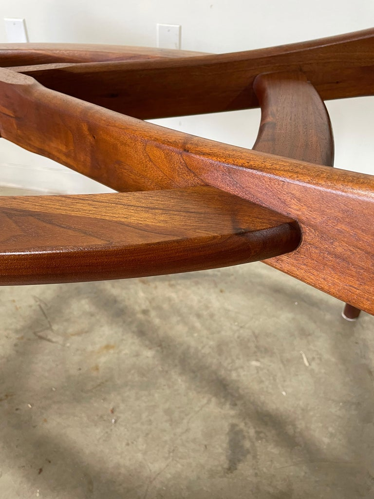 20th Century Adrian Pearsall Walnut and Glass Dining Table