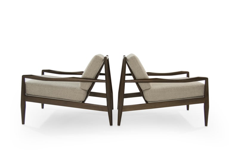 Mid-Century Modern Adrian Pearsall Walnut Lounge Chairs, Model 834-C, circa 1950s For Sale