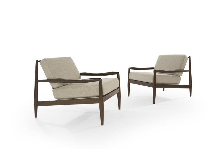 American Adrian Pearsall Walnut Lounge Chairs, Model 834-C, circa 1950s For Sale