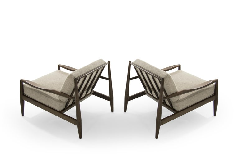 Adrian Pearsall Walnut Lounge Chairs, Model 834-C, circa 1950s In Excellent Condition For Sale In Stamford, CT