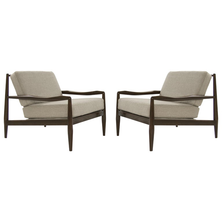 Adrian Pearsall Walnut Lounge Chairs, Model 834-C, circa 1950s For Sale
