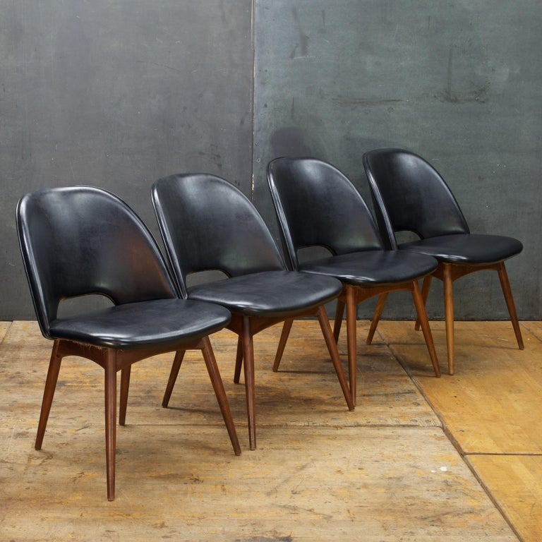 Kitchen Chairs For Sale: Adrian Pearsall Walnut Table Black Chair Dining Set