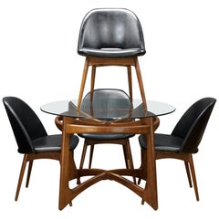1950s Adrian Pearsall Walnut Table Black Chair Dining Set Kitchen Cabinmodern