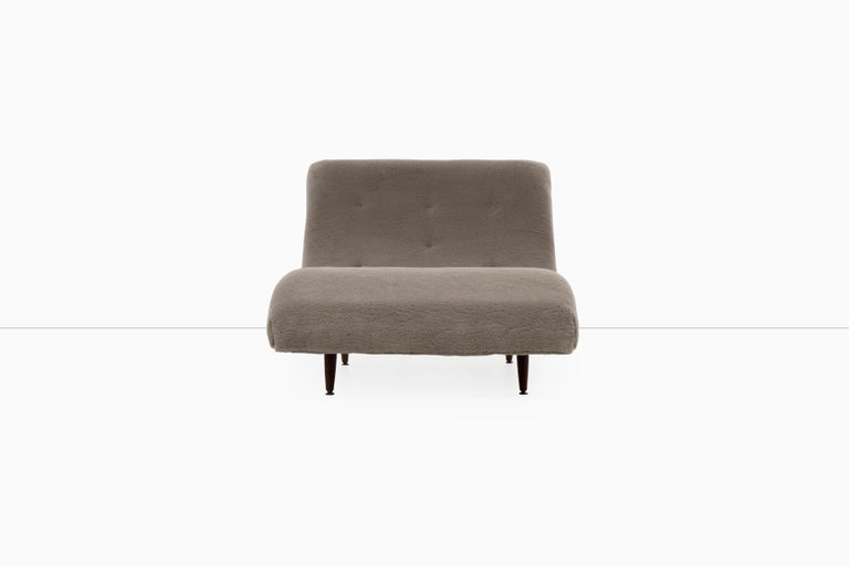 Pearsall for Craft Associates, wave chaise lounge, features solid walnut turned-tapered legs.  Reupholstered with new foam, button tufted with Great Plains Mammoth 100% mohair fabric.  Seat Height is 12 at the low dip and 15.5