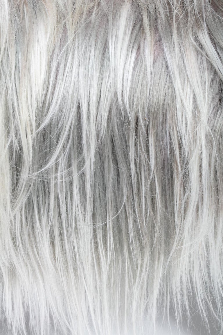 Mid-Century Modern Adrian Pearsall Style Wave Rocking Chaise in Silver Long Hair Goat Fur For Sale