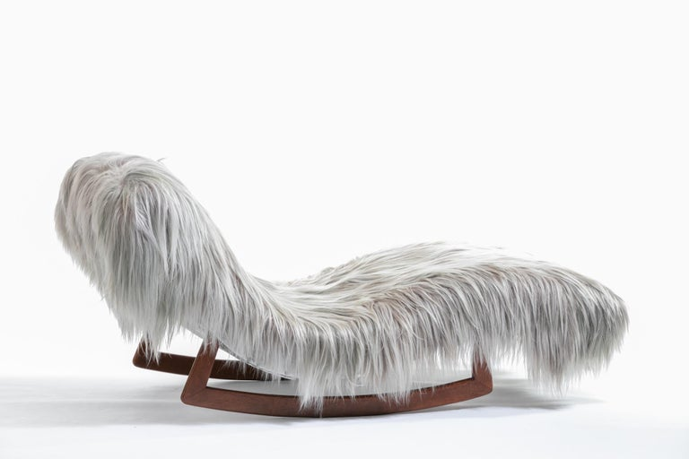 Goat Hair Adrian Pearsall Style Wave Rocking Chaise in Silver Long Hair Goat Fur For Sale