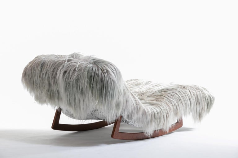 Adrian Pearsall Style Wave Rocking Chaise in Silver Long Hair Goat Fur For Sale 1