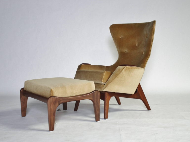 Mid-Century Modern Adrian Pearsall Wing Chair for Craft Associates Model 2231-C and Ottoman