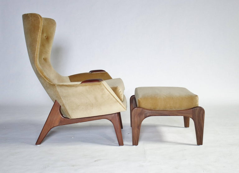 Mid-20th Century Adrian Pearsall Wing Chair for Craft Associates Model 2231-C and Ottoman