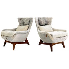 Adrian Pearsall Wingback Chairs Restored in Brazilian Cowhide