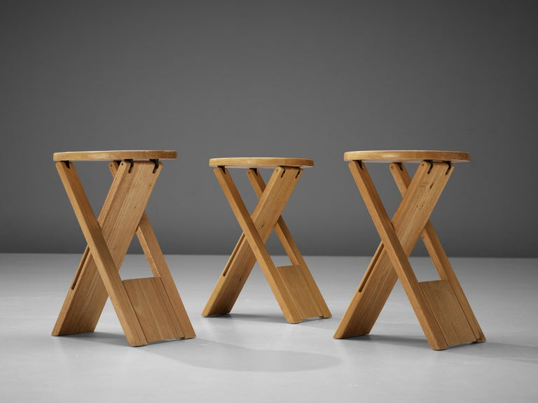 Post-Modern Adrian Reed Foldable 'Suzy' Stools or Side Table in Beech