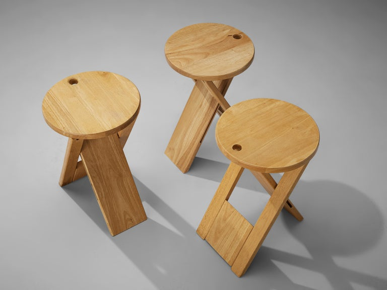 British Adrian Reed Foldable 'Suzy' Stools or Side Table in Beech