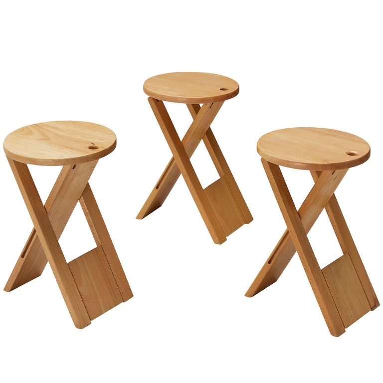 Adrian Reed Foldable 'Suzy' Stools or Side Table in Beech