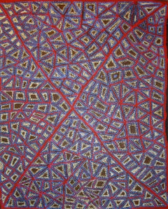 Adrian Young, abstract red, blue and white Australian Aboriginal Art painting