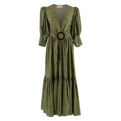 Adriana Degreas Green Polka Dot Silk Mille Punti Maxi Dress - Us size 6