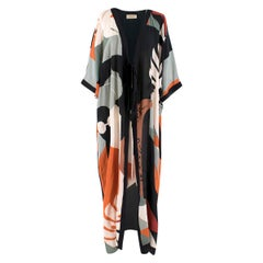 Adriana Degreas Multi-Print Silk Beach Tie Front Cover-up One Size