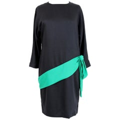 Adriana Kastern Black Green Wool Bow Evening Cocktail Dress 1980s