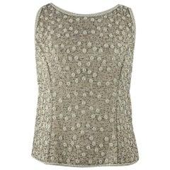 Adrianna Papell Beige Beaded SilkSleeveless Top Size 10 US