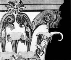 """""""Corinthian Capital 1"""", black, white and gray classical architectural print."""
