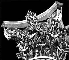 """Corinthian Capital 4"", black and white architectural detail aquatint print."