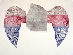 """Rosetta Takes Wing"", Egyptian influenced etching print red, blue, silver."