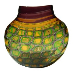 Adriano dalla Valentina Murrinni Glass Vase Amber and Green, Mosaica Motif