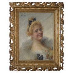 Adriano Goby 19th Century Oil Portrait of a Beautiful Young Lady, circa 1890s