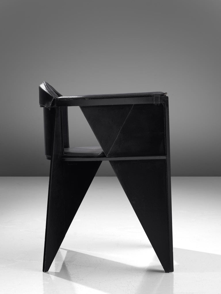 Adriano & Paolo Suman for Giorgetti Spa, armchair, lacquered beech and leather, Italy, 1984  Geometric Postmodern armchair designed by Adriano & Paolo Suman and manufactured by Giorgetti Spa. This model chair is from the Matrix series designed in