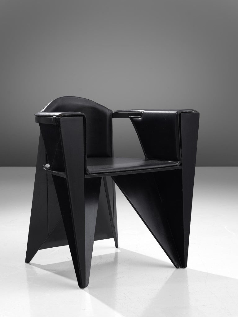 Post-Modern Adriano & Paolo Suman Black Armchair, 1984 For Sale