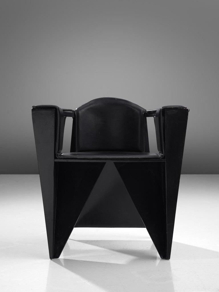 Italian Adriano & Paolo Suman Black Armchair, 1984 For Sale