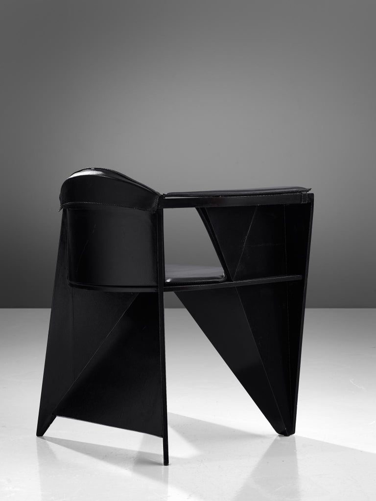 Adriano & Paolo Suman Black Armchair, 1984 In Good Condition For Sale In Waalwijk, NL