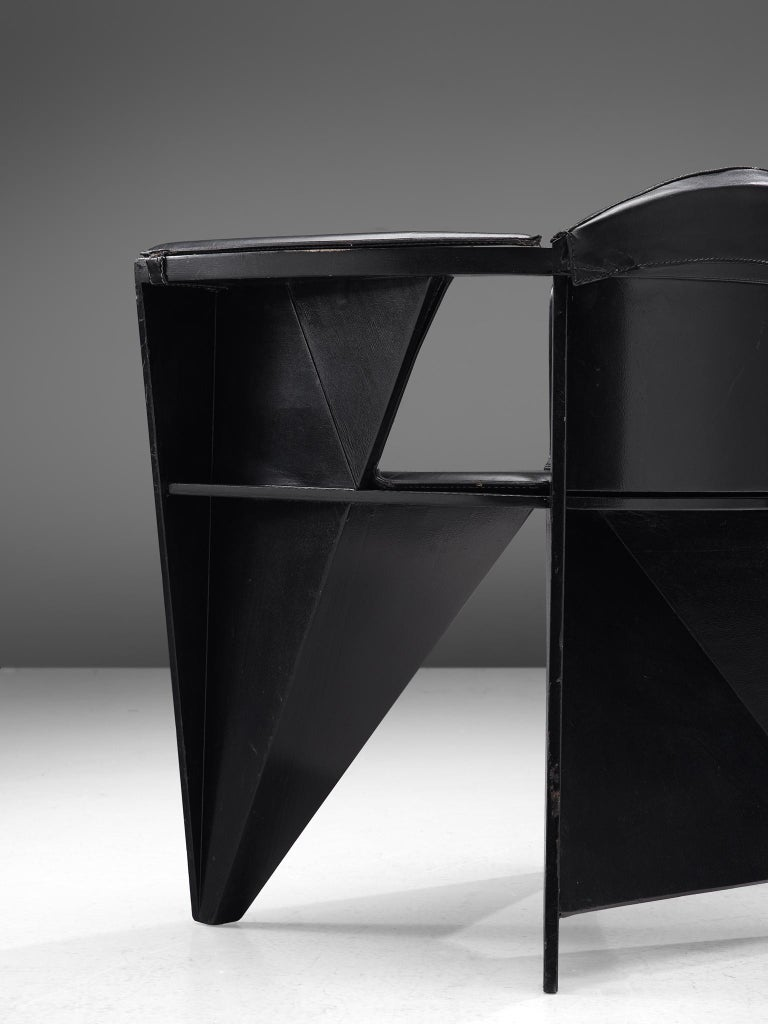 Late 20th Century Adriano & Paolo Suman Black Armchair, 1984 For Sale