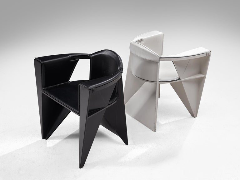 Adriano & Paolo Suman Black Armchair, 1984 For Sale 1