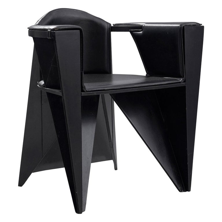 Adriano & Paolo Suman Black Armchair, 1984 For Sale