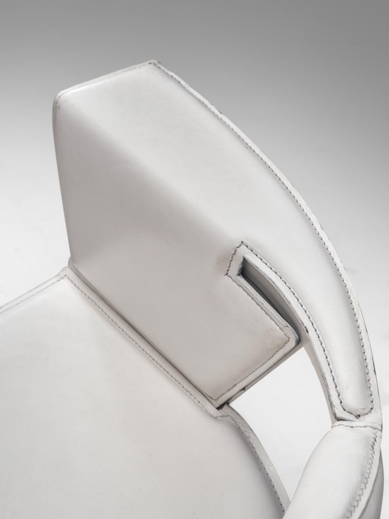 Adriano & Paolo Suman for Giorgetti Spa, armchair, white lacquered beech and leather, Italy, 1984  Geometric Postmodern armchair designed by Adriano & Paolo Suman and manufactured by Giorgetti Spa. This model chair is from the Matrix series