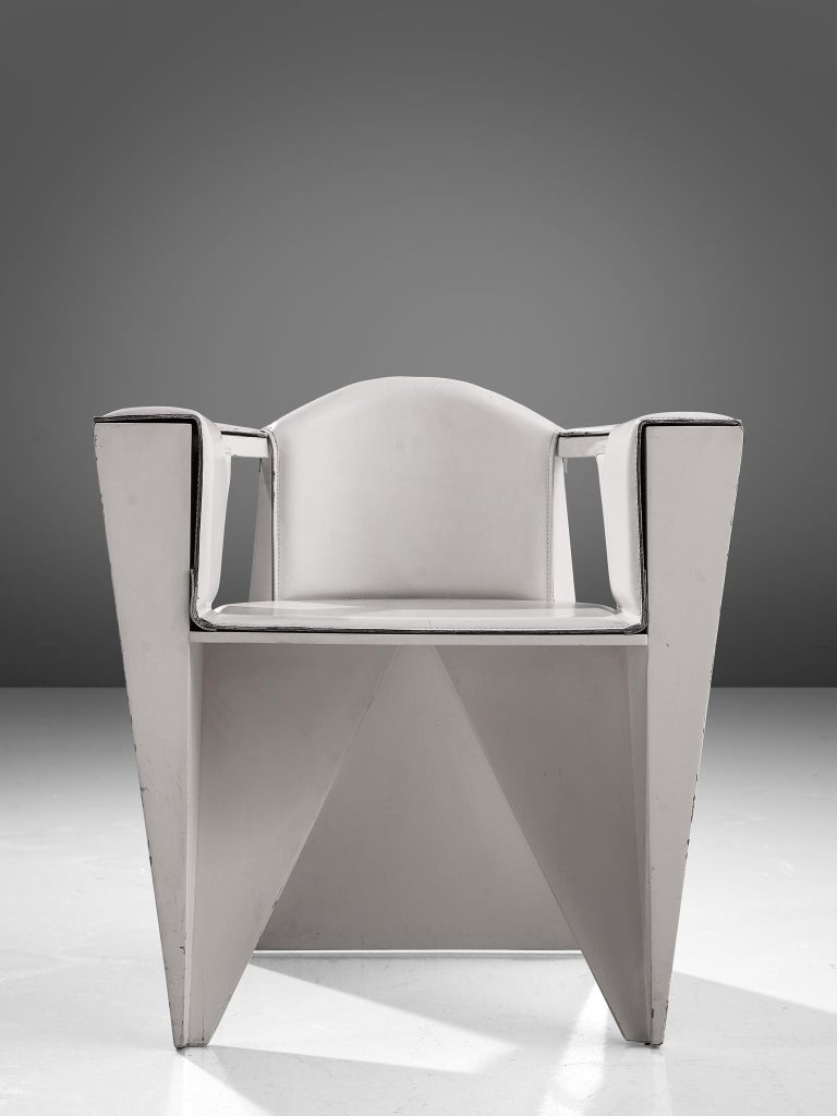 Post-Modern Adriano & Paolo Suman White Armchair, Italy, 1984 For Sale